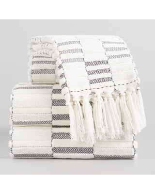 Black and Ivory Striped Sculpted Sloan Towel Collection by World Market