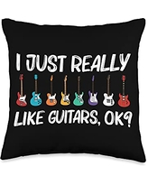 Best Guitar Player Instrument Musician Accessories Cool Guitar Gift For Men Women Acoustic Guitarist Band Music Throw Pillow, 16x16, Multicolor