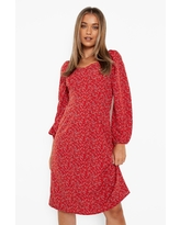 Womens Ditsy Floral Sweetheart Midi Dress - Red - 14