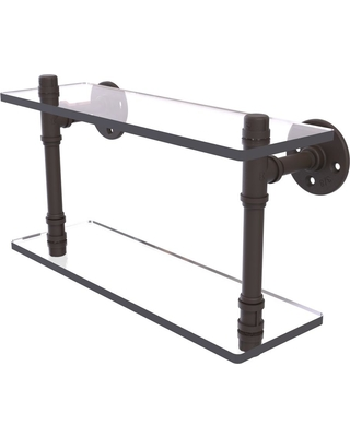 Allied Brass Pipeline Collection 16 in. Double Glass Shelf in Oil Rubbed Bronze