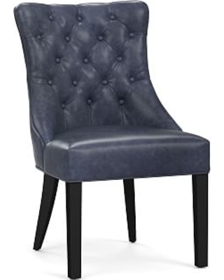 Hayes Tufted Leather Dining Side Chair, Espresso Frame, Statesville Indigo Blue