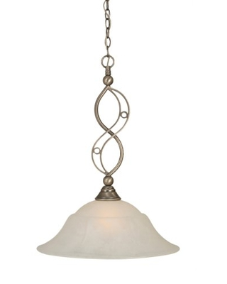 Toltec Lighting 231-BN-53815 Jazz One-Light Down light Pendant Brushed Nickel Finish with White Marble Glass, 20-Inch