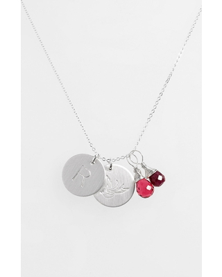 Women's Nashelle Ruby Quartz Initial & Swallow Sterling Silver Disc Necklace