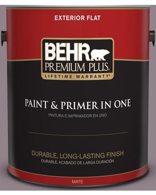 BEHR Premium Plus 1 gal. #N110-4 Gothic Purple Flat Exterior Paint and Primer in One