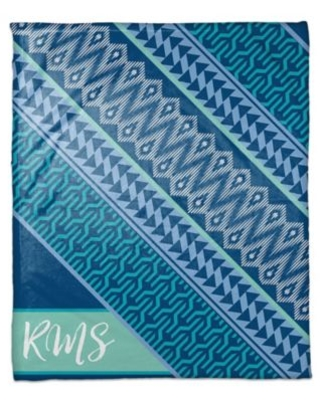 Blue Toned Boho Personalized Throw Blanket