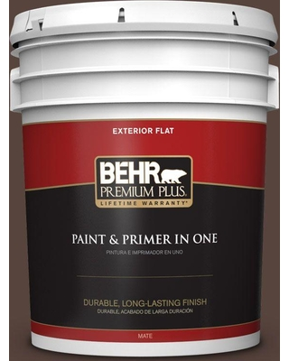 BEHR Premium Plus 5 gal. #bxc-78 Cordovan Leather Flat Exterior Paint and Primer in One