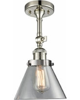 "Large Cone 8"" Wide Polished Nickel Adjustable Ceiling Light"