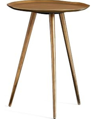 Euclid Round Accent Table, Brass