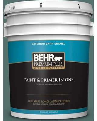 BEHR Premium Plus 5 gal. #480F-6 Shaded Spruce Satin Enamel Exterior Paint and Primer in One