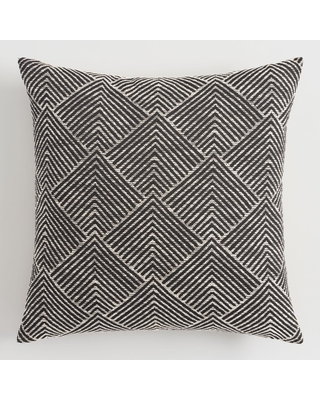 Geometric Angle Jacquard Throw Pillow: Black by World Market