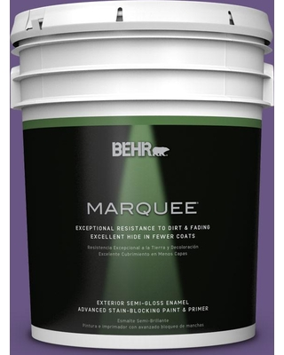 BEHR MARQUEE 5 gal. #PPU16-02 Vigorous Violet Semi-Gloss Enamel Exterior Paint and Primer in One