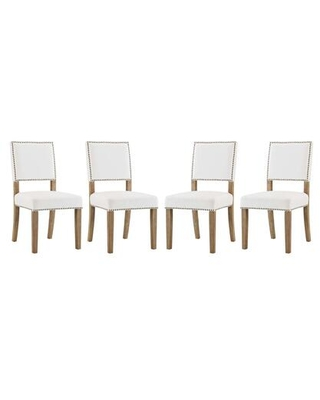 Oblige Collection EEI-3478-IVO Set of 4 Dining Chairs with Nailhead Trim Non-Marking Foot Caps Solid Natural Wood Legs and Velvet Polyester Fabric