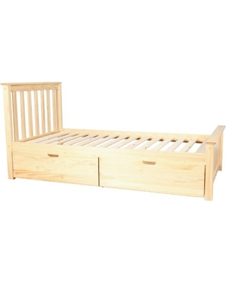 Charmant Solid Wood Twin Platform Bed With Under Bed Storage Drawer Color: Natural