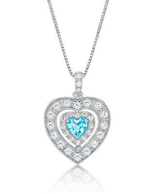 Womens Genuine Swiss Blue Topaz & Lab-Created White Sapphire Sterling Silver Pendant Necklace, One Size , Nocolor
