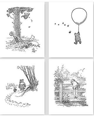 Cloud Nine Prints Winnie The Pooh Black And White Nursery Art Baby Wall Prints Boys Girls Room 8x10 Unframed Set Of 4 From Amazon