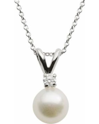 """18k White Gold AA Akoya Cultured Pearl and Diamond Accent Pendant - 16 in., Women's, Size: 16"""""""