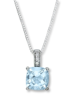 Jared The Galleria Of Jewelry Aquamarine Necklace Diamond Accents 10K White Gold