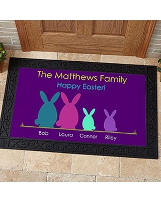 Personalized Welcome Mat - Easter Bunny Family