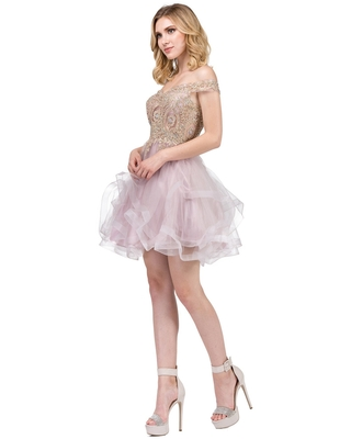 Dancing Queen - 3000 Gold Lace Overlay and Tulle A Line Cocktail Dress