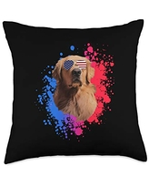 USA & 4th of July Dog Lover Gifts by Art Like Wow Dog Labrador American Flag Sunglasses, 4th Of July USA Funny Throw Pillow, 18x18, Multicolor