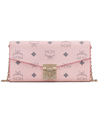 Women's Mcm Coated Canvas Wallet On A Chain - Pink
