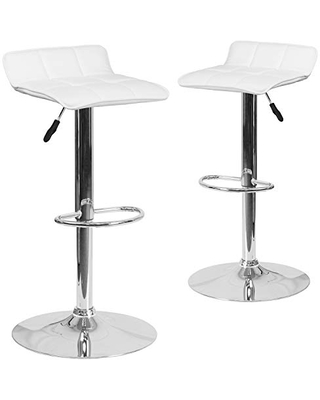 Flash Furniture 2 Pack Contemporary White Vinyl Adjustable Height Barstool with Quilted Wave Seat and Chrome Base