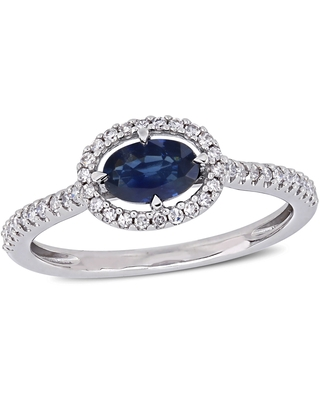 Miadora 14k White Gold Sapphire and 1/5ct TDW Diamond Floating Oval Halo Ring (8.5)