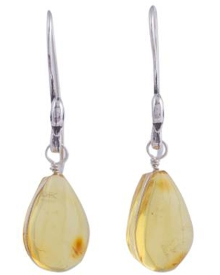 Sterling Silver Swan Earrings with Mexican Amber