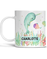 Kids Narwhal Mug Customize Name Dishwasher Safe Unbreakable Cup BPA Free Under the Sea