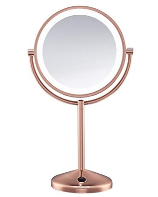 Conair Reflections Double-Sided LED Lighted Vanity Makeup Mirror, 1x/10x magnification, Rose Gold finish