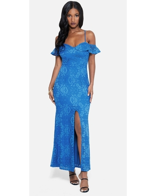 Bebe Women's Off The Shoulder Lace Slit Gown, Size Small in PALACE BLUE Spandex