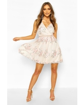 Womens Boohoo Occasion Floral Embroidery Wrap Skater Dress - Pink - 10