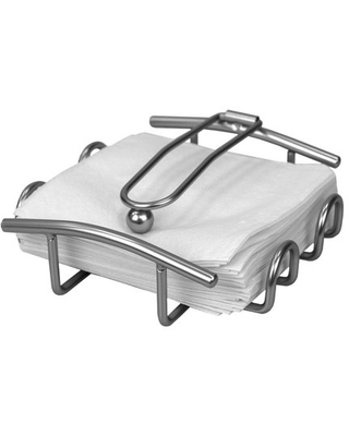 Simplicity Collection Flat Napkin Holder with Weighted Pivoting Arm, Satin Nickel