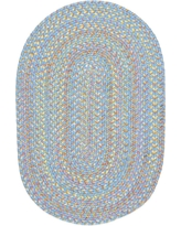 Play Date Aqua Blue Multi 5 ft. x 8 ft. Oval Indoor/Outdoor Braided Area Rug