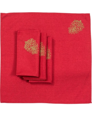 Xia Home Fashions 0.1 in. H x 20 in. W x 20 in. D Christmas Pine Tree Branches Embroidered Napkins (Set of 4)