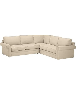 Pearce Roll Arm Upholstered 2-Piece L-Shaped Sectional, Down Blend Wrapped Cushions, Performance Everydayvelvet(TM) Buckwheat