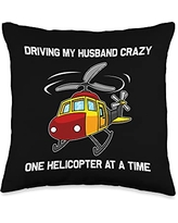 Best Aviation Aircraft Vehicle Transportation Art Cool Gift for Women Mom Chopper Helicopter Pilot Throw Pillow, 16x16, Multicolor