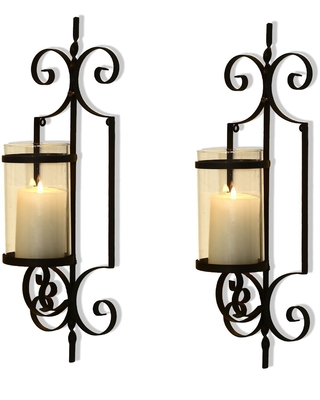 Adeco Cast Iron Vertical Wall Hanging Accents Candle Holder Sconce (Set of 2) (HD0018)