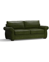 "Pearce Leather Grand Sofa 90"", Down Blend Wrapped Cushions, Leather Legacy Forest Green"