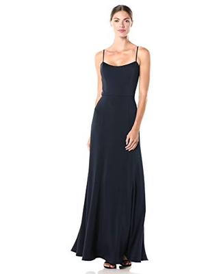 Jenny Yoo Women's Aniston Thin Strap Fit and Flare Long Crepe Gown, Midnight, 0