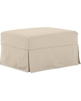PB English Slipcovered Ottoman, Polyester Wrapped Cushions, Twill Parchment