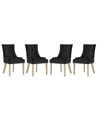 Pose Collection EEI-3505-BLK Set of 4 Dining Chairs with Nailhead Trim Non-Marking Foot Caps Natural Wood Legs and Stain-Resistant Velvet Fabric