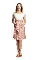 Maternal America Women's Maternity Front Tie Dress, Cream/Apricot Tapestry, Small