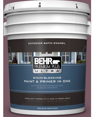 BEHR ULTRA 5 gal. #ICC-84 Simply Elegant Satin Enamel Exterior Paint and Primer in One