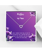 Anavia Mother in Law Gift, Mother of the Groom Gift, Jewelry and Card Gift for Mother in Law, Mother's Day Gift, Necklace and Card Gift [Silver Heart,Purple Gradient]