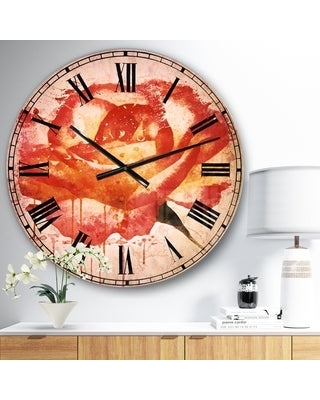 Designart 'Red Rose Hand drawn with Splashes' Floral Large Wall CLock (23 in. wide x 23 in. high)