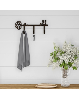 Hastings Home Decorative Skeleton Key Design Hooks-3-Pronged Cast Iron Shabby Chic Rustic Wall Mount Hooks for Coats, Hats, Jewelry, and More by