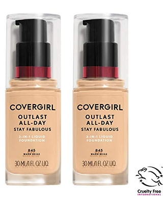 COVERGIRL COVERGIRL outlast all-day stay fabulous 3-in-1 foundation, nude beige, pack of 2, 1 Ounce