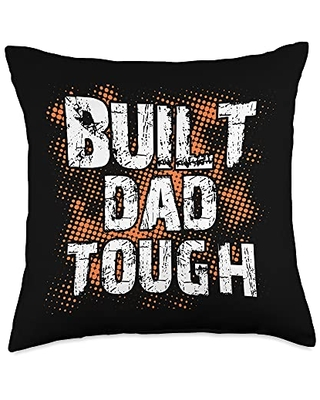 Zone - 365 4th Of July Patriotic Dad Built Dad Tough American Funny 4th Of July Throw Pillow, 18x18, Multicolor