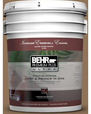 BEHR Premium Plus Ultra 5 gal. #N270-7 Library Oak Eggshell Enamel Interior Paint and Primer in One